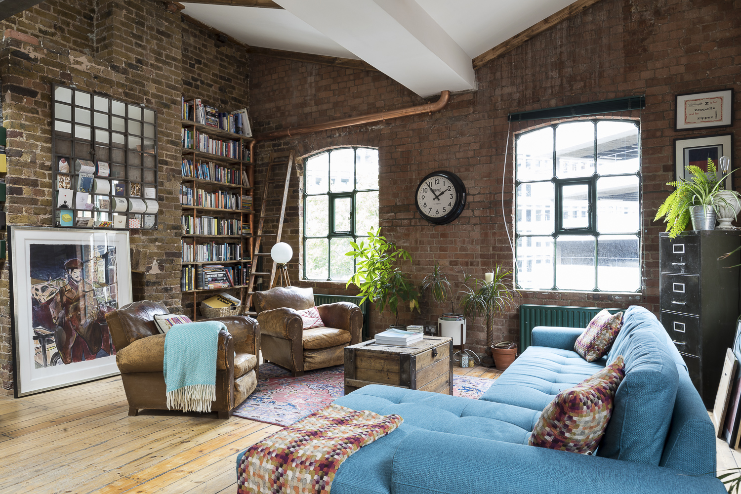 Shoreditch Penthouse Book Shelves Custome Made Bespoke Reclaimed Wood Copper Brackets
