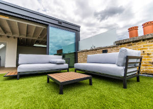 Loft conversion with grass terrace in Chiswick