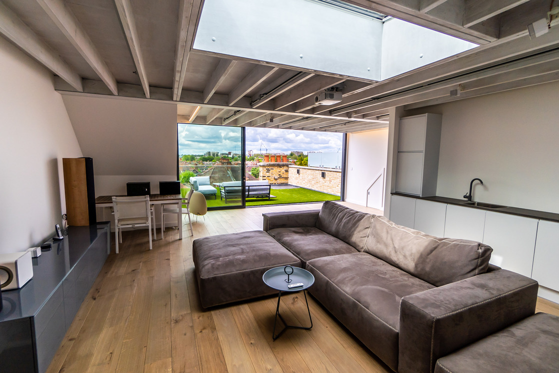 BPM3024 Victorian Penthouse London Chiswick Cabinets Exposed Joists Terrace Grass_Y