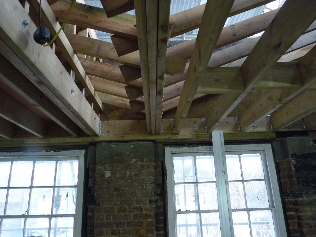 Roof joists for a butterfly roof in Greenwich