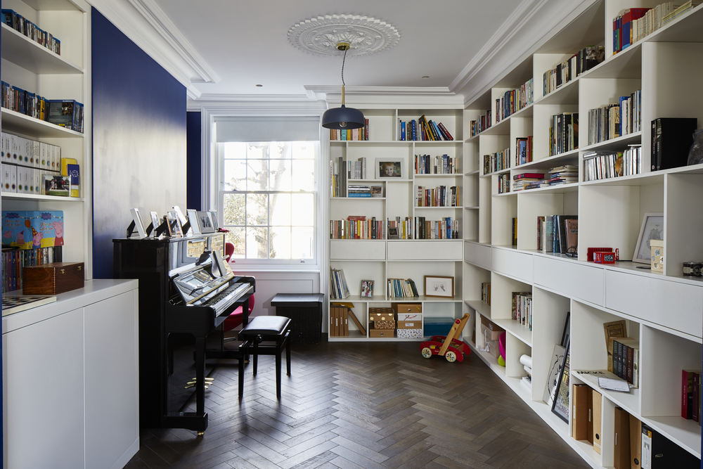 Greenwich Bespoke Library Bookshelves 623-Ground-floor-library-herringbone-parquet-Greenwich-town-house-with-basement-renovation
