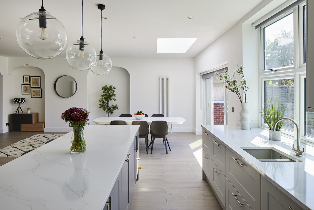 _A7A7061 Full house extension renovation Willesden pendants white kitchen dining room