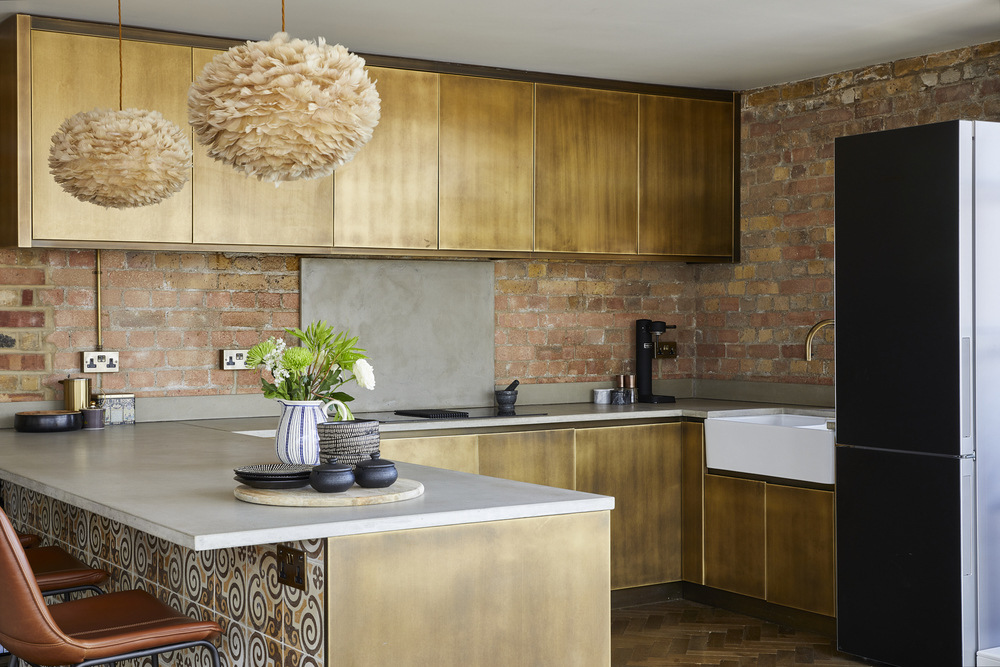 1226 prime contemporary penthouse Aldgate bespoke kitchen copper cabinets